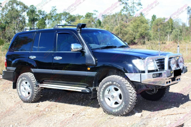 "Right side view of 100 Series Landcruiser fitted with 2"" inch lift kit with Coil-Rite Airbag kit"
