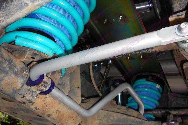 Underside view of the rear Superflex swaybar, coil springs and Airbag Man coil helper airbags