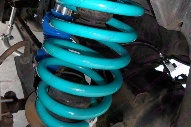 Closeup view of some heavy duty coil springs