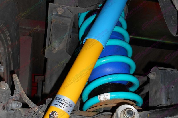 Nissan Patrol GU Ute fitted with some Bilstein shocks, Dobinson coil springs and Airbag Man coil helper bags