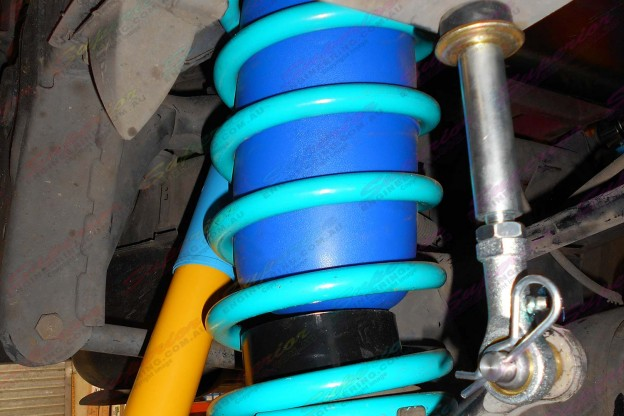 Nissan Patrol fitted with some Bilstein shocks, Superior Swaybar Extensions and heavy duty Dobinson coils