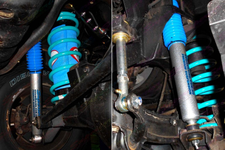Side by side view of a Nissan Patrol fitted with the Airbag Man coil helper kit and superior kit