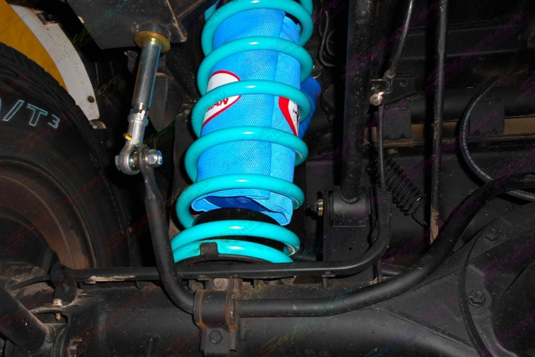 Closeup view of a Airbag Man airbag and kevlar protector in some Superior coil springs