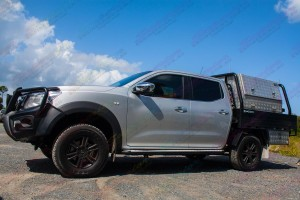 Left hand side view of the Nissan Navara NP300 D23 Dual Cab Airbag Man Coil Helper Kit fully fitted