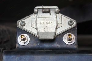 Closeup view of the Airbag inflation valves fitted to the rear end of the Holden Colorado four wheel drive vehicle